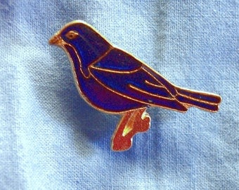 Indigo Bunting,  Hand Painted, Pin, Gold Plate, Lead Free Pewter
