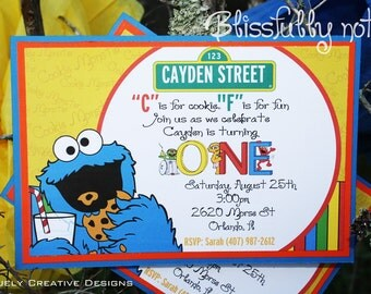 Digital Sesame Street Invitations