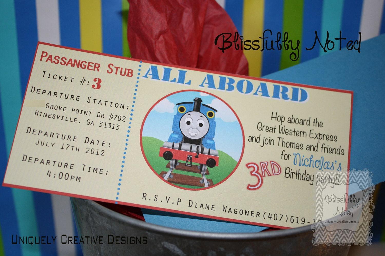 custom listing thomas the train birthday invitation