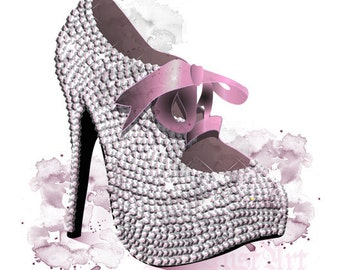 Glamourous Burlesque Shoe - Fashion Illustration -POSTCARD