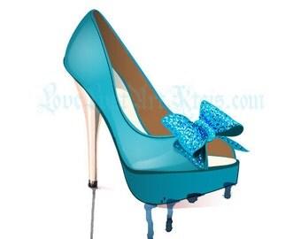 Rainy Teal Shoe - Glamour Illustration - POSTCARD