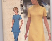 Simplicity 9761 sz 16, 1970's high round neckline tunic and bell bottom pants