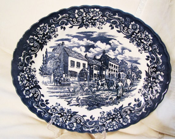 "17th Century England, Ironstone ""Red River"" Made in England oval platter"
