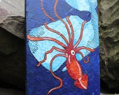 "Giant Squid Fighting Sperm Whale - Acrylic on wood plank 7.5"" x 11.5"""