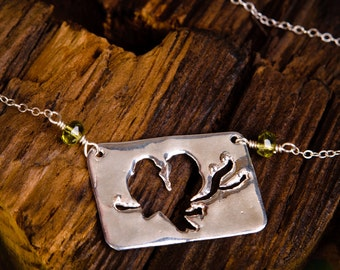 Love Birds Necklace - Sterling Silver Rectangle Love Birds on Branch and Peridot
