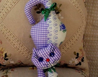 Cat glamorous of calico with a tail - crochet, handmade.