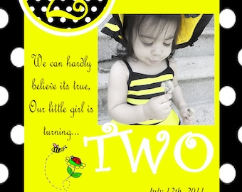 Black, White, and Yellow Bumble Bee Invitations