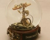 Indecision - one of a kind steampunk liquid-filled snowglobe OOAK (Available Jan. 2013)