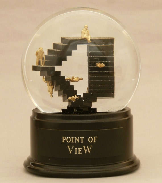 Point of View - Escher-esque Custom Snowglobe / Water globe with angled stairs OOAK