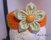 Mini Pill box Hat, Infant Photo prop, Ready to Ship, Crochet Orange Hat with Fabric Flower clip