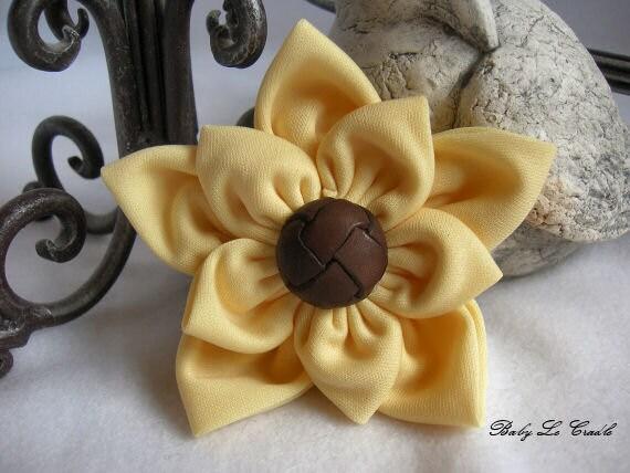 Flower Hair Clip, Sunflower Yellow, Fabric Flower Hair Bow Photo prop hb325