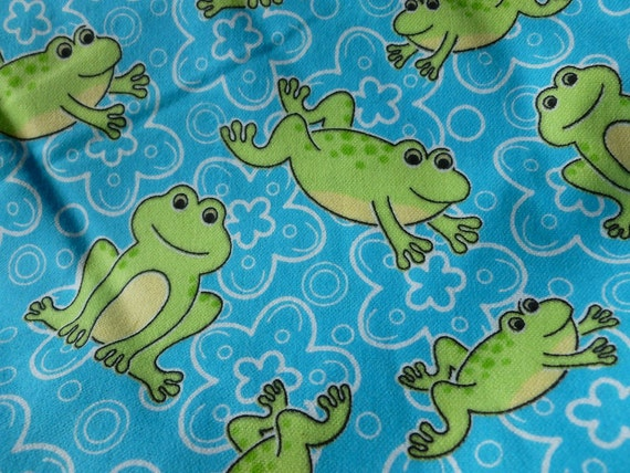 Fabric sale children 39 s frog print cotton flannel by kalacrafts for Childrens fabric sale