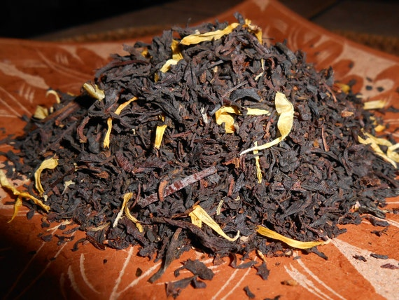 Organic SUMMER CEYLON Artisan Tea Blend - Mango-Infused Ceylon with Calendula Petals - Ripe for Sweet Sipping - One Ounce yields 15-18 Cups