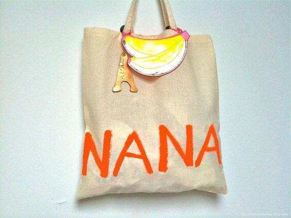 Nana TOTE Bag - French - Natural/Orange - Eco - Eiffel Tower