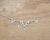 Silver Chevron Cutout Necklace