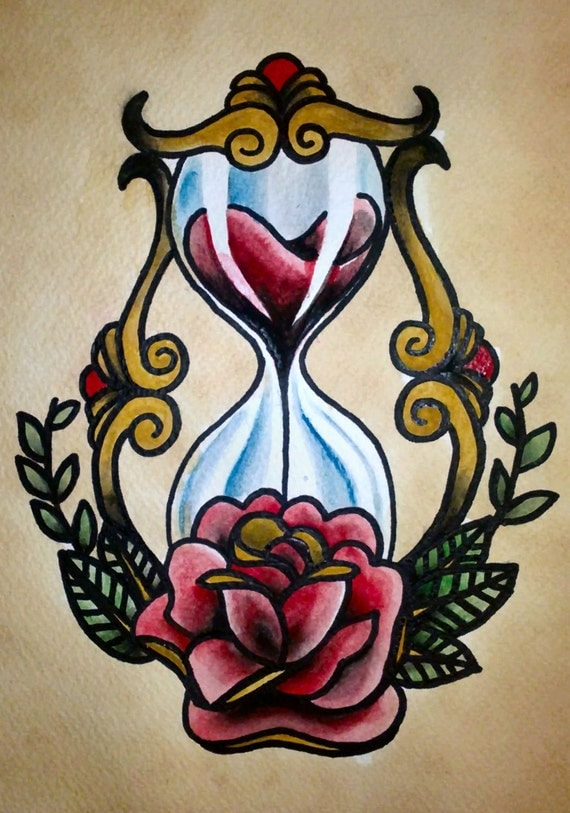 Traditional tattoo Hourglass