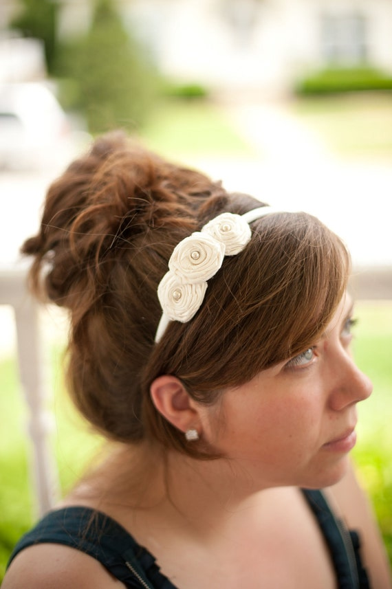 Three Silk Rose Headband (wedding)