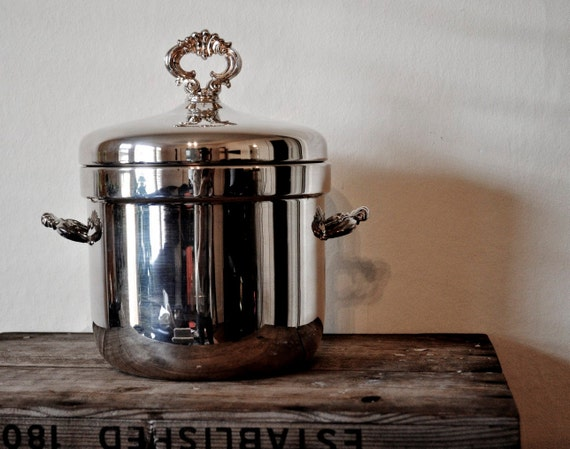 Awesome Vintage Silver-Plated Ice Bucket with Ceramic Insert by F.B. Rogers