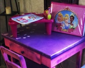 Handcrafted and very unique childrens desk, for a girl or a boy. It has a two toned, paint splattered look, and comes with a chair.