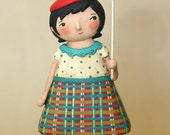 Girl with a Balloon OOAK Paperclay art doll