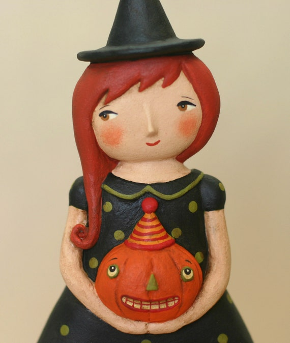 Witch with Pumpkin OOAK Art Doll