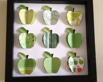 Green Apples, 3D paper art