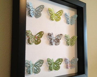 Blue and Green Butterfly, 3D Paper Art - perfect for a new baby or little girl's room