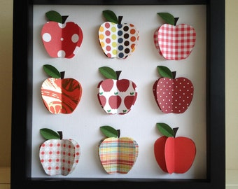 Red Apple, 3-D paper Art, Kitchen Decor, shadow box frame, Red Apple Art, teacher gift by PaperLine