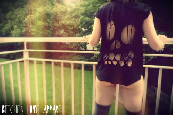 Oversized OOAK Black Hipster Skull Cutout Back Stud Shoulder Short Sleeve Tshirt Vest