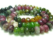 "Multi Tourmaline Smooth Rondelles- 14"" Strand -Stones measure- 7mm"