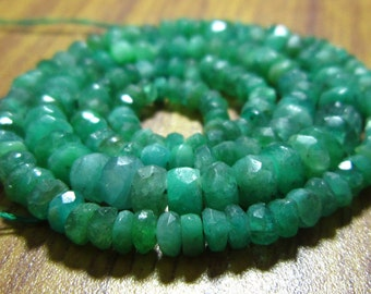 "Zambian Emerald Faceted Rondelle- 14"" Strand -Stones measure -3-5mm"