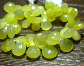 "Peruvian Honey Opal Faceted Heart Briolette- 7"" Strand -Stones measure- 7-9mm"