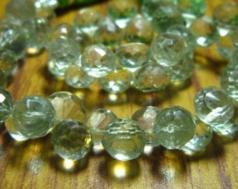 """AA-Green Amethyst Faceted Onion Briolette- 7"""" Strand -Stones measure- 6-7mm"""