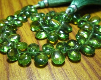 """AA-Green Apatite Smooth Pear Briolette- 7"""" Strand -Stones measure- 6x8-6x9mm"""
