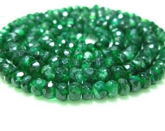 "Green Quartz Faceted Rondelles- 14"" Strand -Stones measure- 3-5mm"