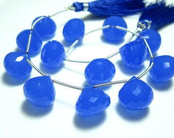 "Blue Synthetic Chalcedony Faceted Onion Briolettes- 8"" Strand -Stones measure- 12-13mm"