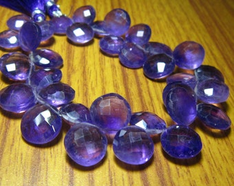 """African Amethyst Faceted Coin Briolettes- 7"""" Strand -Stones measure- 11mm"""