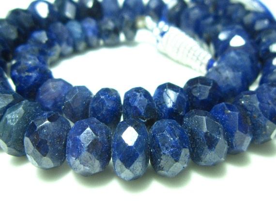 "Blue Sapphire Faceted Big Rondelle- 7"" Strand -Stones measure -8-11mm"
