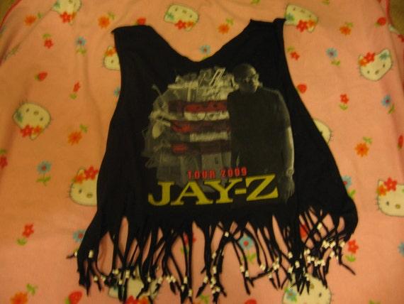 Super Fly Beaded and Fringed Jay Z shirt