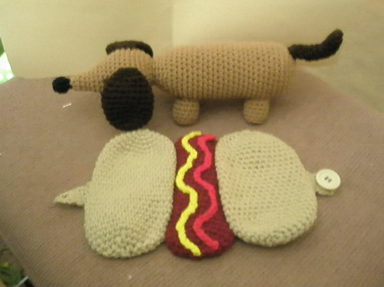Free Crochet Hot Dog Pattern : Crochet Dachshund in a Hot Dog Bun Pattern This is a PDF