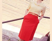 SALE. -30%. It's red. It's a Skirt. It's high-waisted pencil-skirt. It's chic0
