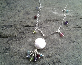 Freshwater coin pearl necklace with hanging cluster and tiny gems