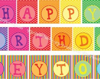 Rainbow Happy Birthday Banner with name - Custom Digital File
