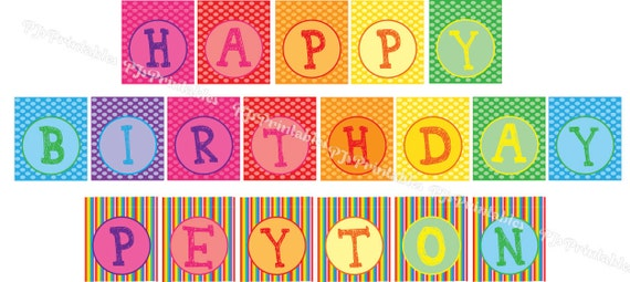 rainbow happy birthday banner with name custom digital file by pj