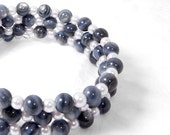 Beaded Bracelet, Grey and Purple