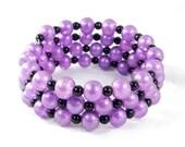 Wrap Bracelet, Purple and Black, Lavender Bracelet, Lilac Beads, Spring Jewelry, Summer Accessories, Handmade Bracelet, Gifts under 20