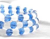 White and Blue, Beaded Bracelet, Memeory Wire Bracelet