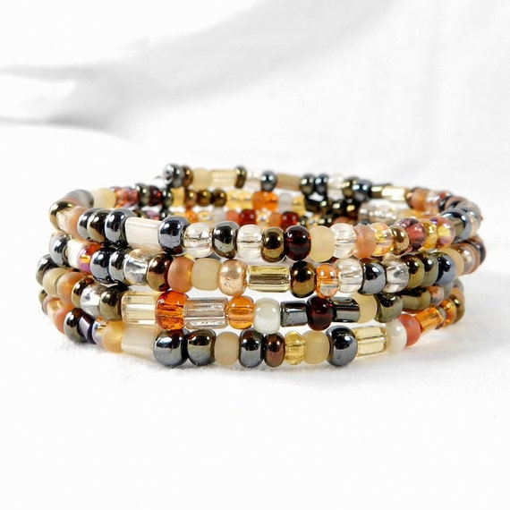 Czech Glass, Bead Bracelet, Amber Beads, Desert Colors, Topaz Beads, Sand Color