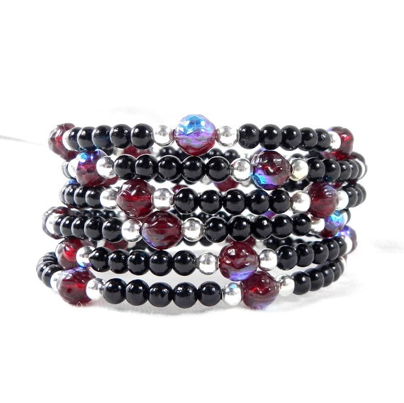Black and Silver Beaded Bracelet, Red and Blue, Silver Beads, Aurora Red, Ruby Red, Bridesmaid Gift, Stocking Stuffer
