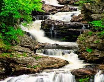 """Waterfall Landscape Art Photograph Print, Nature Photography Wall Decor """"Triple Falls""""  8x10 (and larger)"""